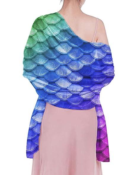f288040b80572 Chiffon Scarf - Beautiful Pastel Diagonal Rainbow Mermaid Fish ...
