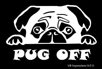 cute popular decal IN BLACK Peeking Pug Dog car sticker
