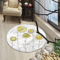 Yellow Flower Round Area Rug Hand Drawn Style Sunflowers on Twigs Petals Growth Botany SummertimeOriental Floor and Carpets Pale Yellow Black