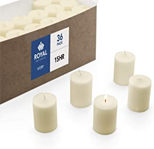Royal Imports Votive Candle, Unscented Ivory Wax, Box of 36, for Wedding, Birthday, Holiday & Home Decoration (15 Hour)