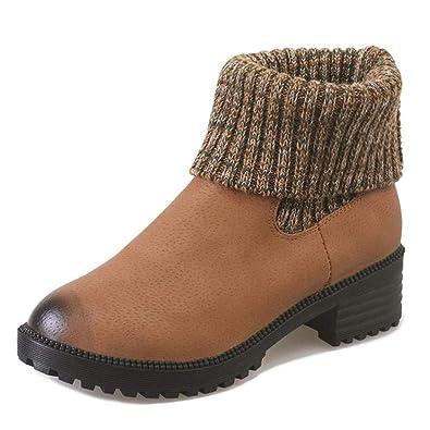 Yi Buy Zapatillas Moda Botines Chelsea Boots Zapatos Mujer Plataforma Tacón Ancho Alto 4,5