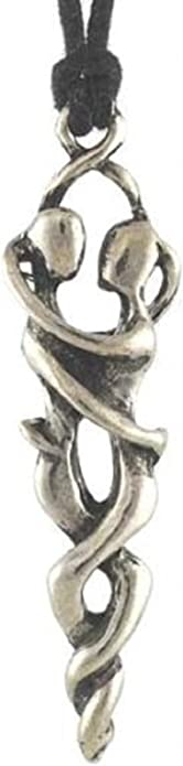 """Lovers Embrace Romantic Necklace Pendant 2.75/"""" Love Dancers Charm Pewter Jewelry"""