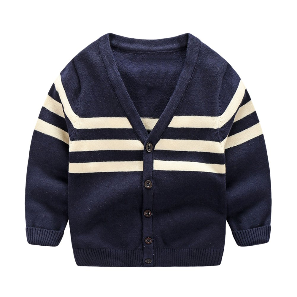 Goodkids Baby Long Sleeve Stripe Sweater Jacket Boys Cotton V-Neck Cardigan for 1-6 Years (4-5years, Blue)
