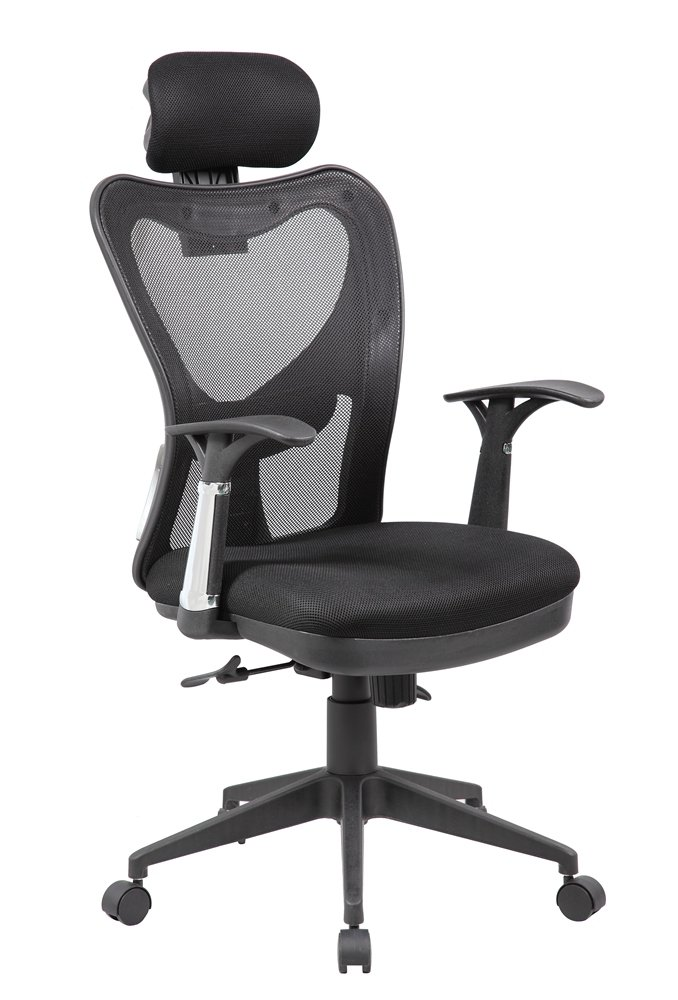 eurosports Mesh Chair ES-8064-BK Adjustable Recline Armrests Chair with Lumbar Support,Black