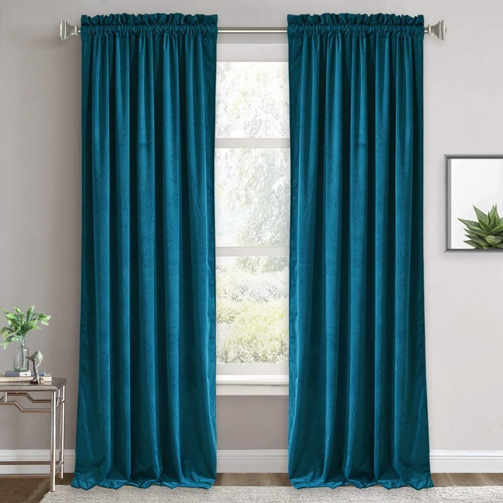 RYB HOME Velvet Curtain 84 inches - Half Blackout Curtains Thermal Insulated Drapes for Living Room, Soft Window Curtain Panels Sun Blocking Bedroom Backdrop, 52 x 84 inches, Peacock Blue, 2 Pcs