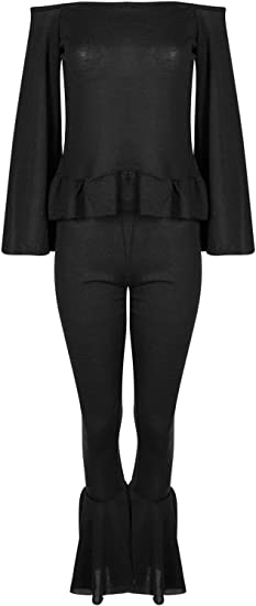 Womens Ladies Peplum Ruffle Frill Top Marl Knit Loungewear Bottom Set Tracksuit