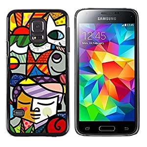 Paccase / Dura PC Caso Funda Carcasa de Protección para - Cubist Collage Stained Glass Window - Samsung Galaxy S5 Mini, SM-G800, NOT S5 REGULAR!