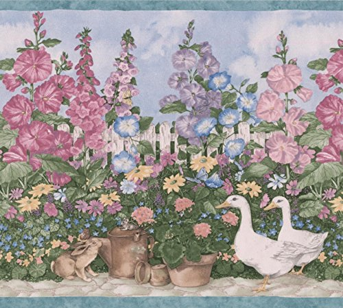 - Village Garden Blue Pink Purple Flowers in Pots Geese Birdhouse Wallpaper Border Retro Design, Roll 15' x 7