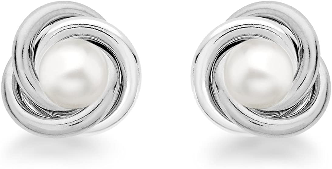 Tuscany Silver Pendientes de Plata de Ley con Perla para Mujer