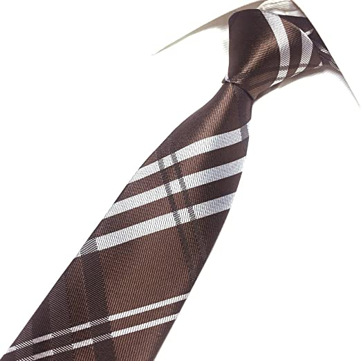 463d02fbb294 Men's Brown Skinny-width Check Ties Long Regular Wedding Necktie for Young  Boys