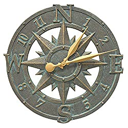 Whitehall Products Compass Rose Clock, Bronze Verdi