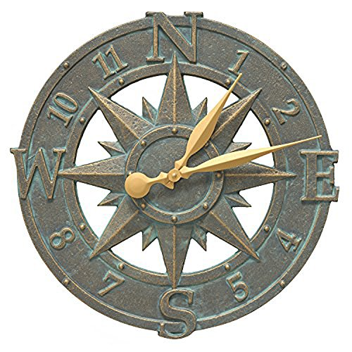 Whitehall Products Compass Rose Clock, Bronze Verdi (Clock Nautical Outdoor)