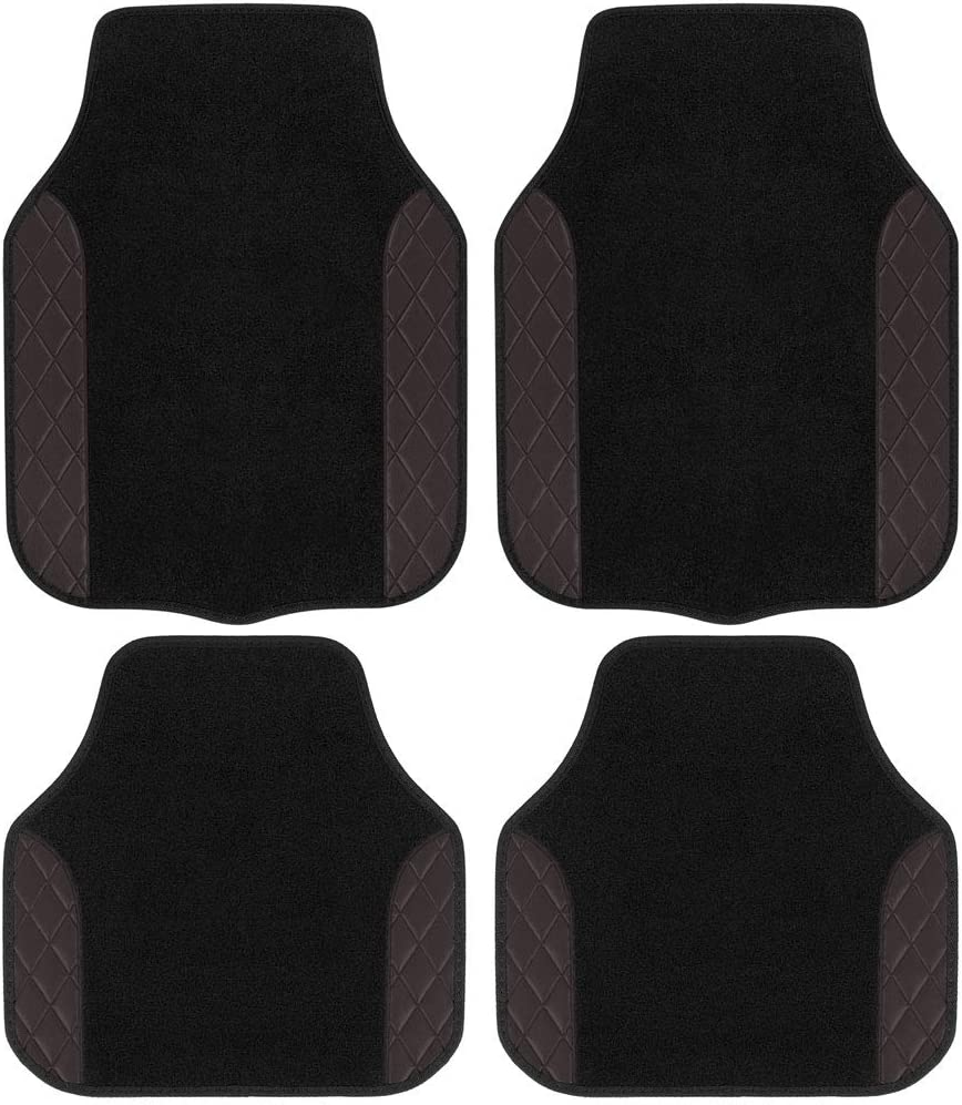 BDK Heavy Duty 4pc Front & Rear Carpet Quilted Style Luxurious Floor Mats for Car SUV Van & Truck-All Weather Protection Universal Fit - Dark Brown, Model Number: MT-2714-BW