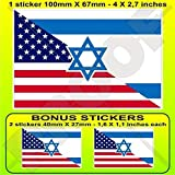 "USA United States of America & ISRAEL American-Israeli Flag 4"" (100mm) Vinyl Bumper Sticker, Decal x1+2 BONUS"