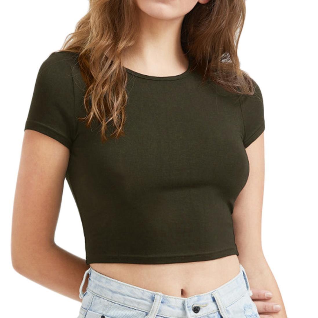 ESAILQ Frauen O-Neck Pure Color Kurzarm Bluse T-Shirt Tops