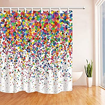 nymb watercolor splashing festival decor colorful confetti shower curtain mildew resistant polyester fabric bathroom - Colorful Shower Curtains