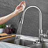 Kitchen Faucet Touch Activated Stainless Steel One Handle High Arc Best Commercial Kitchen Sink Faucet with Pull Down Sprayer & Smart Touch Sensor
