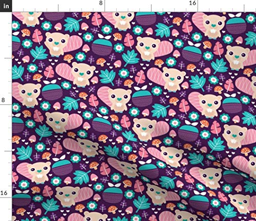 Spoonflower Beaver Fabric - Summer Apple Blossom Beavers Woodland Girls by Littlesmilemakers Printed on Petal Signature Cotton Fabric by The Yard