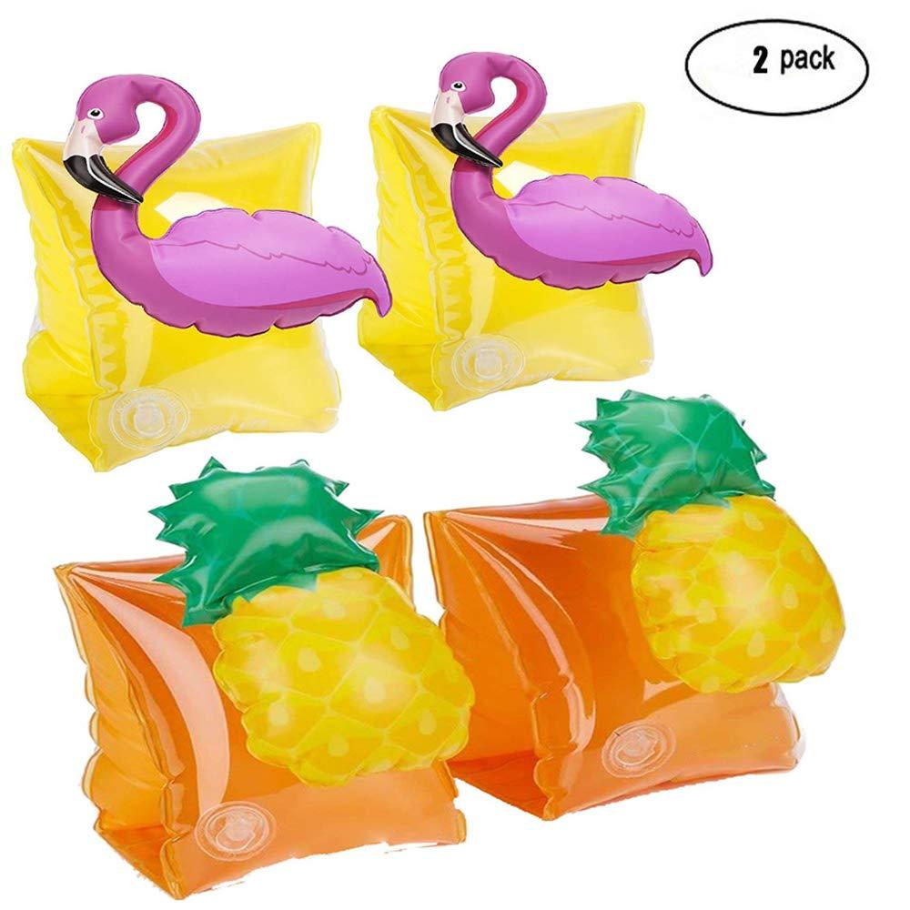 Natación Niños Brazaletes, 2 Par Flotador Natación Infantil Flamingo & Piña Manguitos Bebé Piscina: Amazon.es: Juguetes y juegos