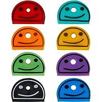 Uniclife 24 STUKS Smiley Face Key Cap Covers in 8 Verschillende Kleuren voor House Key Label Tags