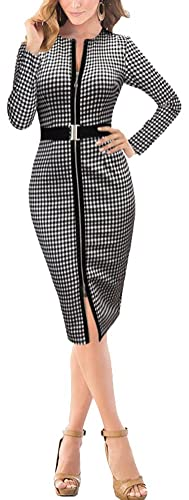 Linin Womens Elegant Belted Front Zipper Tartan Wear to Work Pencil Dress