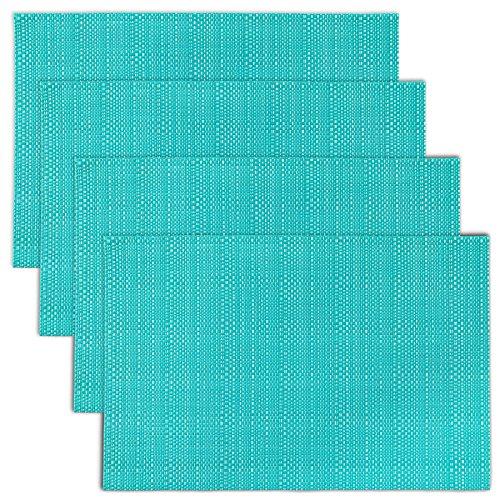 CAIT CHAPMAN HOME COLLECTION Texture Design Woven PVC Placemat (Aqua), Set of 4