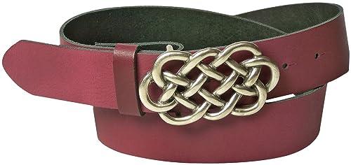Fronhofer cinturón de señora celta, 4 cm, cuero auténtico, hebilla celta, plata, cinturón de cuero, ...