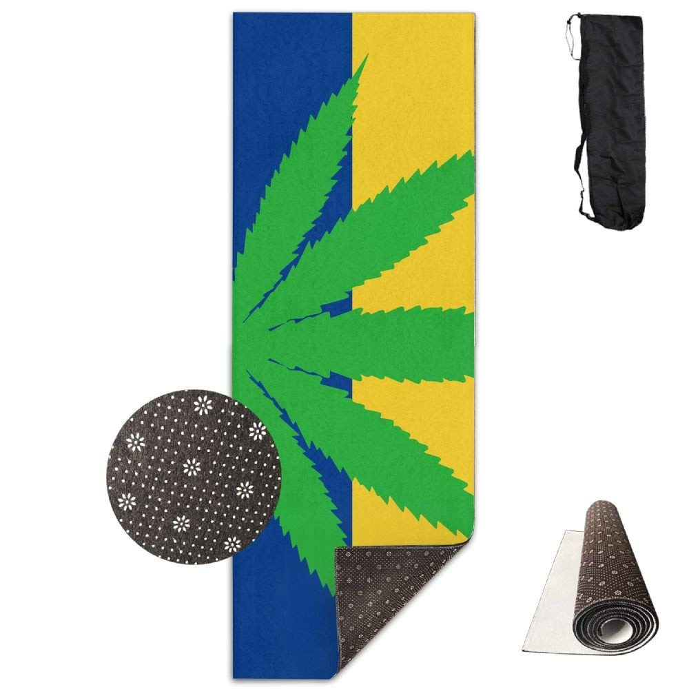 Flag of Colombia with Leaf Deluxe,Yoga Mat Aerobic Exercise Pilates Anti-Slip Gymnastics Mats