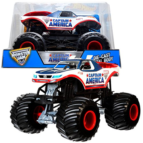 Hot Wheels Year 2017 Monster Jam 1:24 Scale Die Cast Metal Body Truck CAPTAIN AMERICA CHV12 with Monster Tires, Working Suspension & 4 Wheel Steering