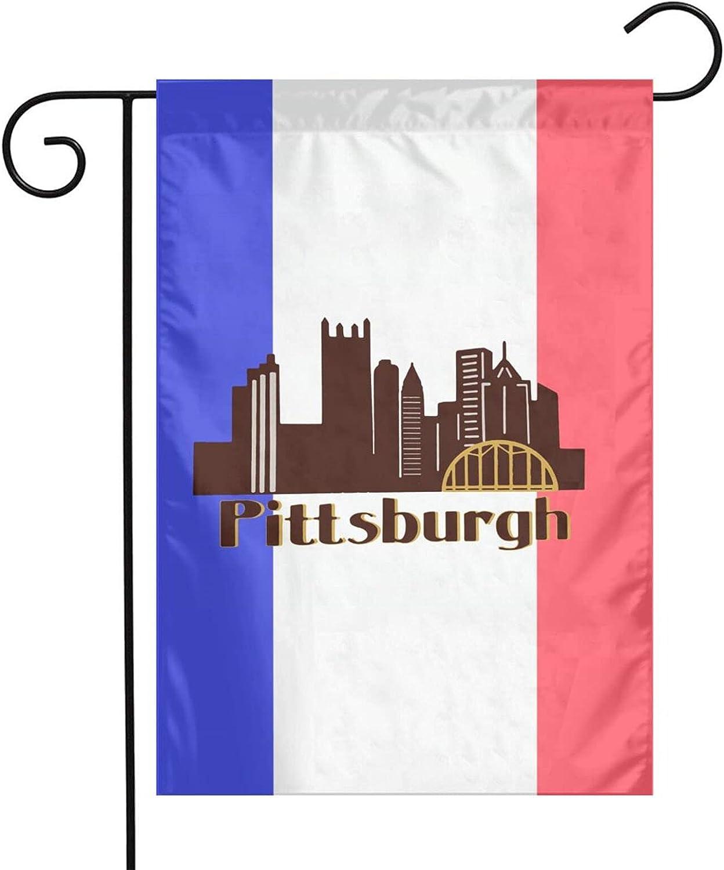 RVSAPK Pittsburgh Skyline 412 Flag Indoors Outdoors Garden Flag Uv Fade Resistant Home Flag 12 X 18 Inch