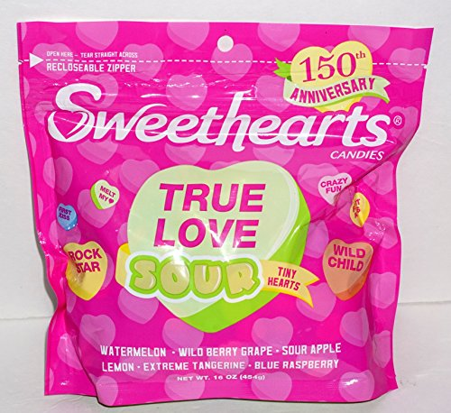 Sweethearts True Love Sour Candies Valentine with Recloseable Zipper 16 oz. (1 BAG)