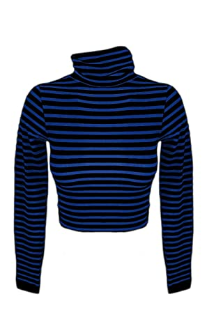 bac5543b8ceaf Sugar Lips Striped Long Sleeve Turtleneck Crop Top - Cobalt Black at Amazon  Women s Clothing store
