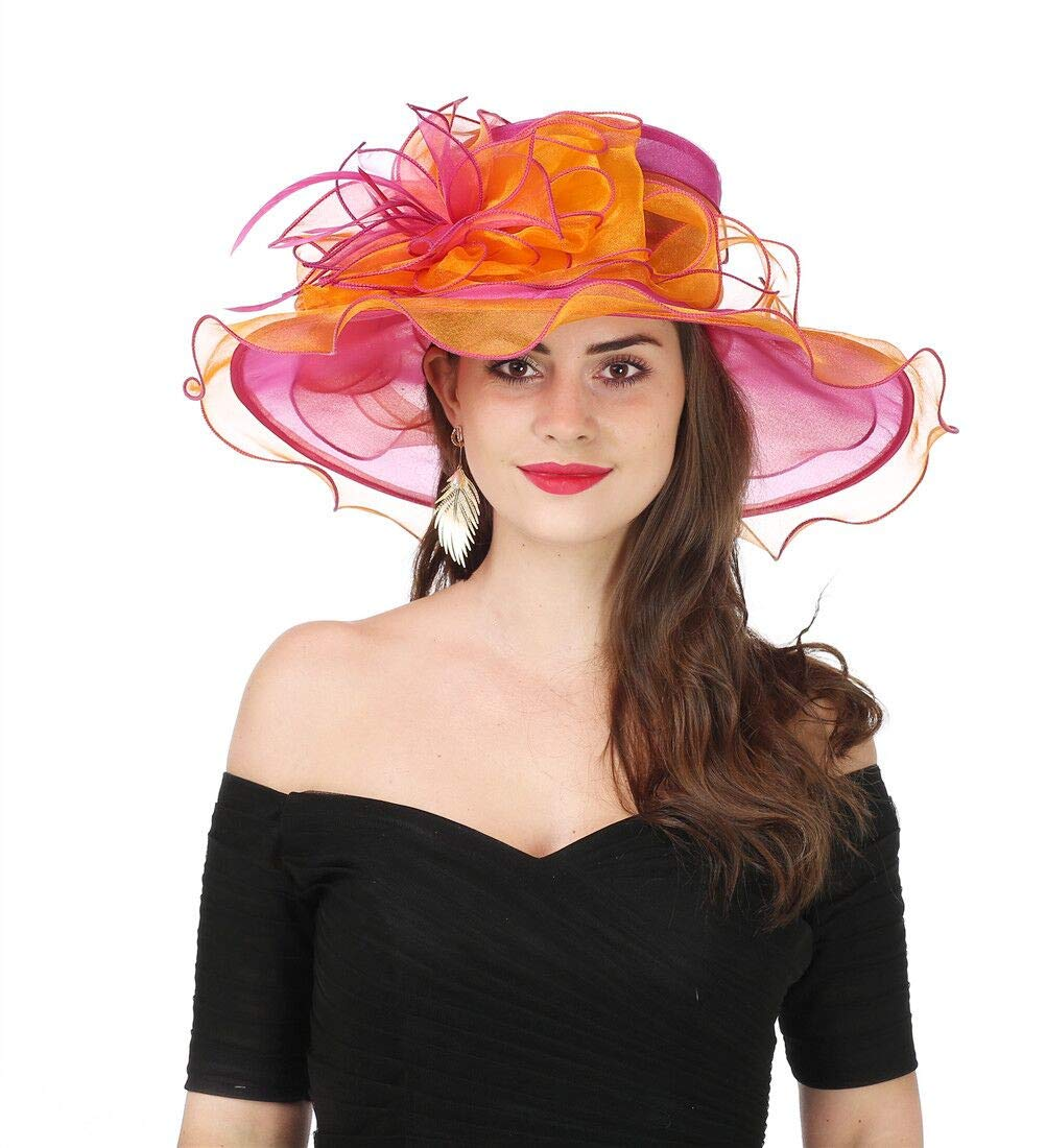 SAFERIN Women's Organza Church Kentucky Derby Fascinator Bridal Tea Party Wedding Hat (2867-Orange Rose)