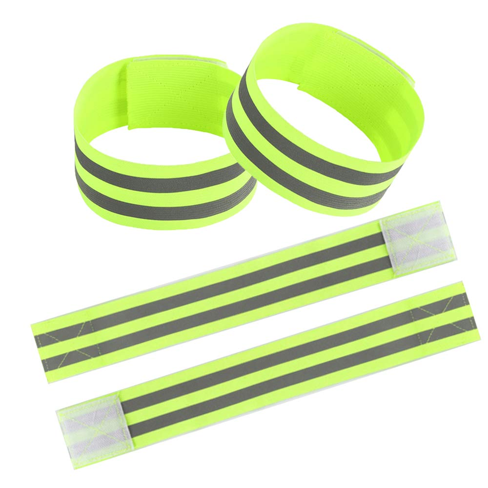 Panaoxf Reflective Fabric Ankle Bands High Visibility and Evening Safety for Cycling/Biking/Walking/Jogging Set of 4…