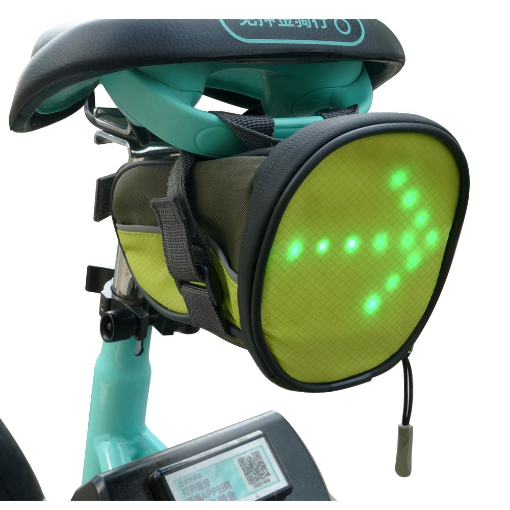 FANCYWING LED Cycling Saddle Bag/Bike Pack Under Seat w/Wireless Remote Control LED Reflective Direction Indicator Light - Lightweight, Waterproof, Safe for Bicycle Cycling on The Road
