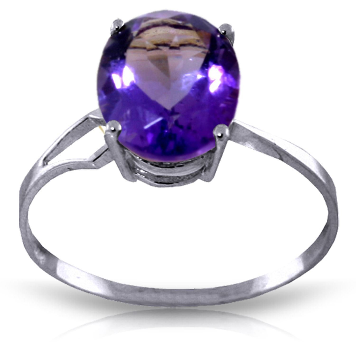 ALARRI 2.2 Carat 14K Solid White Gold Power Of Forgiveness Amethyst Ring With Ring Size 7