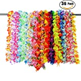 PovKeever 36 Pieces Tropical Hawaiian Ruffled Luau Flower Lei Colorful Necklaces Hawaiian Flower Garlands for Beach Theme Party Supplies Favours