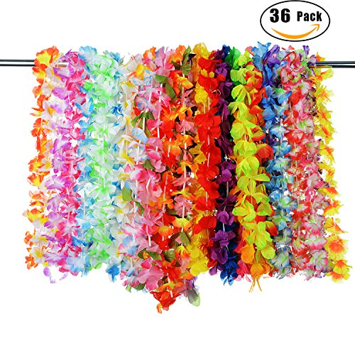 Tiki Girl Jewelry (PovKeever 36 Pieces Tropical Hawaiian Ruffled Luau Flower Lei Colorful Necklaces Hawaiian Flower Garlands for Beach Theme Party Supplies Favours)