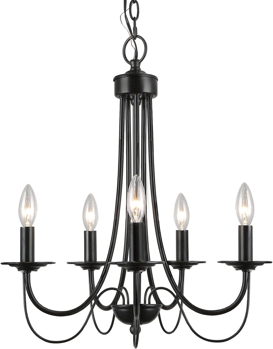 LALUZ, 5-Light 2-Layer Dining Chandeliers for Living Room, Bedroom, Foyer and Kitchen, Black