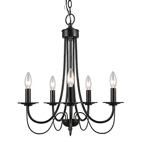LALUZ 2 Layer Chandeliers 5 Light Black Candle Chandelier For Dining Room Living And Foyer