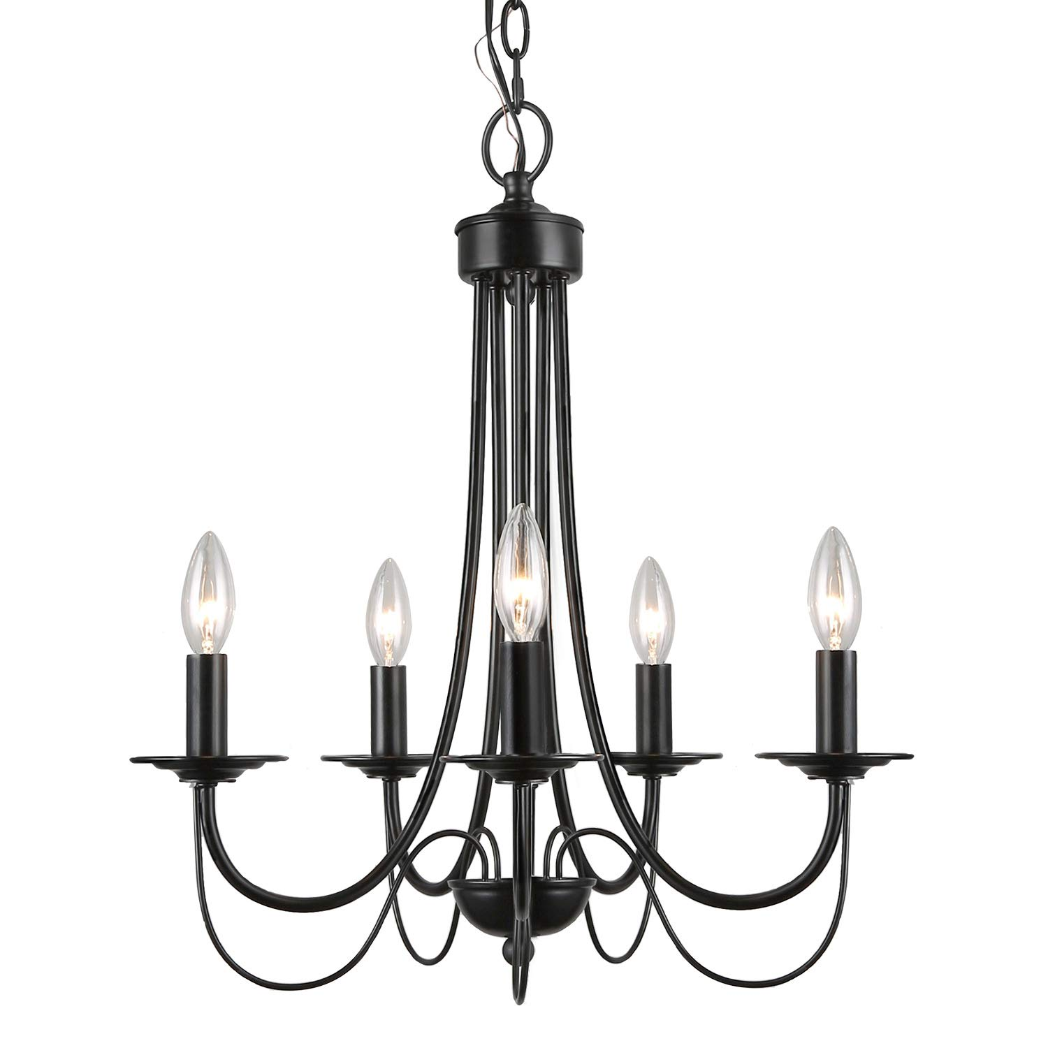 LALUZ 2-Layer Chandeliers, 5-Light, Black Candle Chandelier for Dining Room, Living Room and Foyer