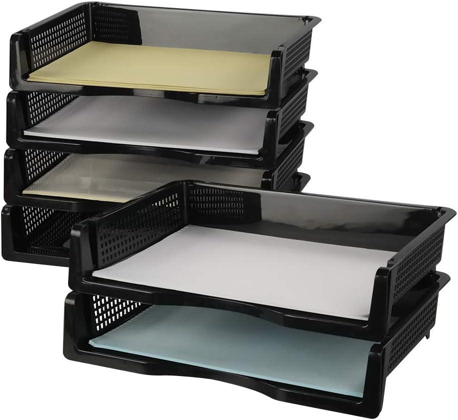 Cadine A4 Bandejas Apilables de Archivo para Documentos, 6 Unidades Bandeja Portadocumentos, Negro Bandejas Oficinas