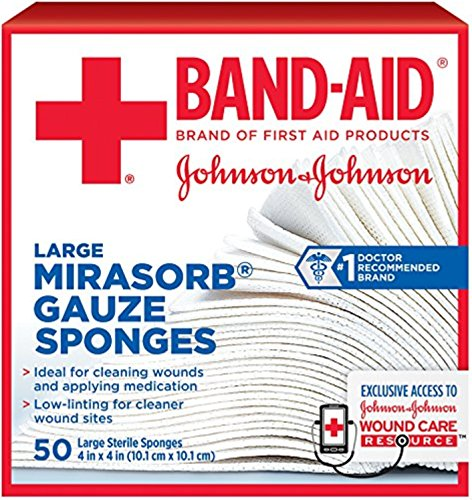 (JOHNSON & JOHNSON Band-Aid Mirasorb Gauze Sponges 4 Inches X 4 Inches 50 Each (7 Pack))