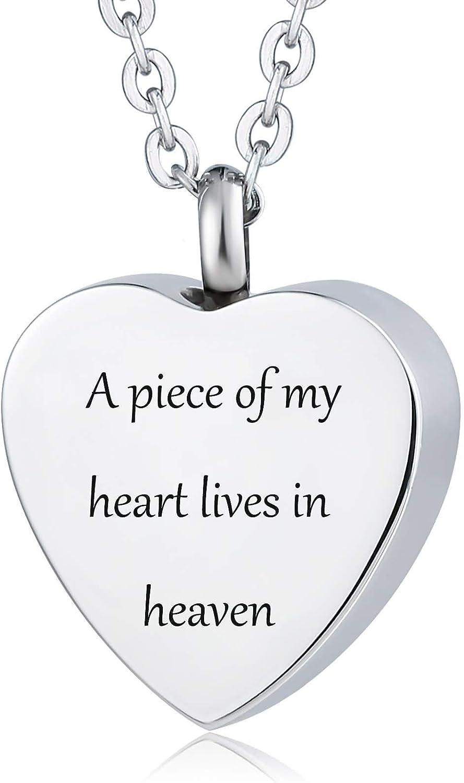 Daesar Colgantes Cenizas Acero Inoxidable Colgante Urna Cenizas Corazón Grabado Collar Grabado Personalizado Familiar