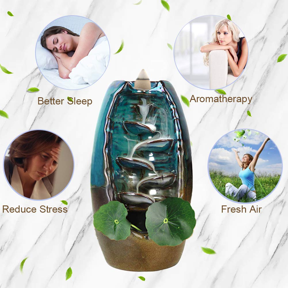 TuoFang Incense Burner, Ceramic Waterfall Backflow Incense Burner Holder Creative Aromatherapy Ornamental Home Decor with Incense Cones, Cushion, Artificial Lotus Leaf by TuoFang (Image #3)