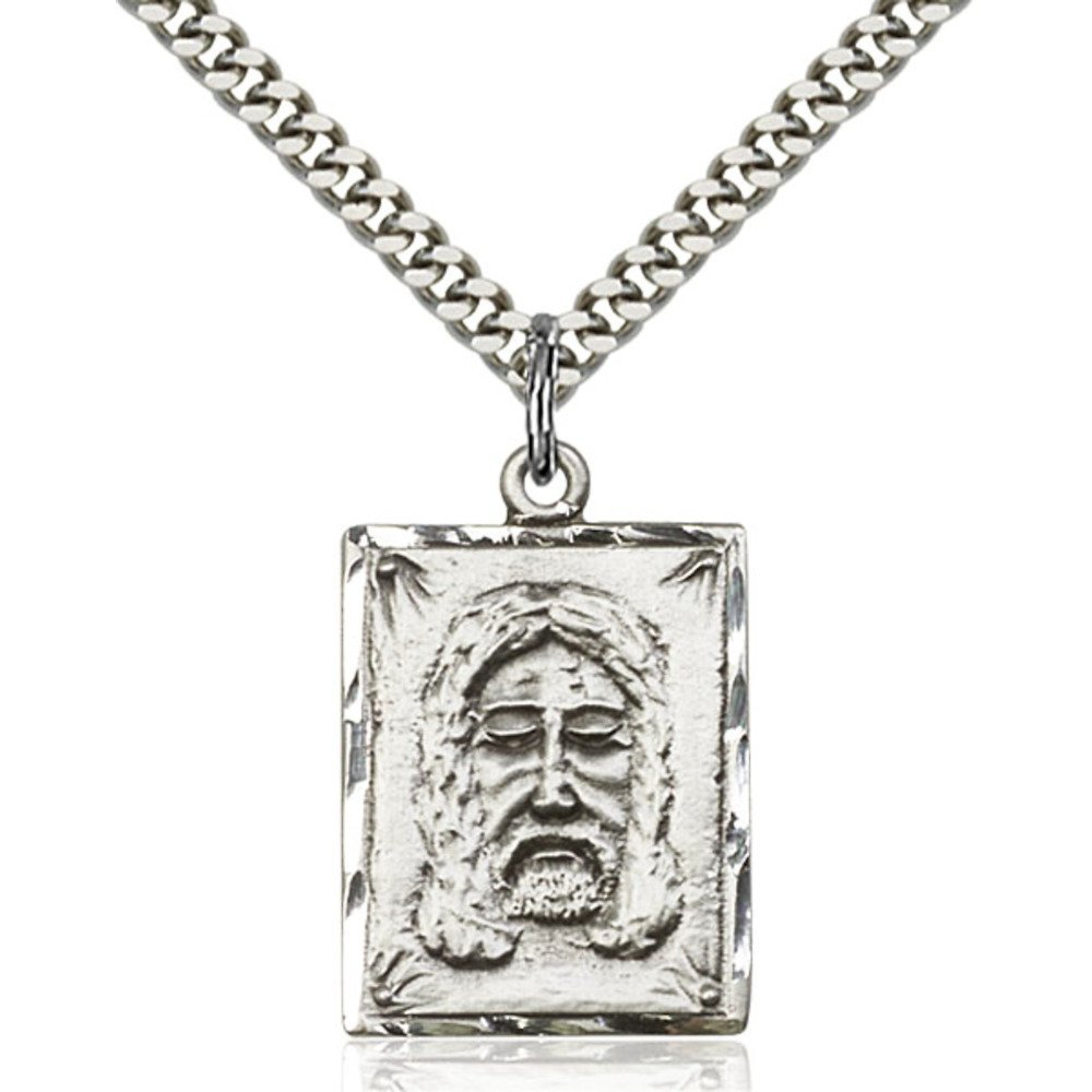Sterling Silver Holy Face Pendant 1 x 5/8 inches with Heavy Curb Chain