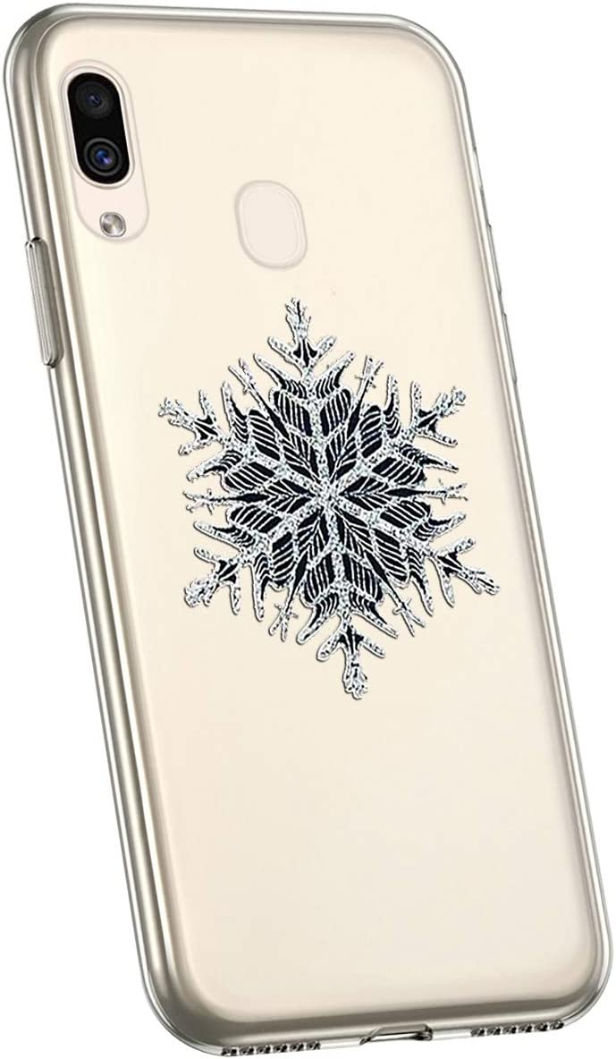Herbests Compatible with Samsung Galaxy A20e Case Ultra Thin Soft TPU Case Christmas Snowflake Series Cute Pattern Silicone Clear Flexible Bumper Crystal Shockproof Back Cover,Red elk