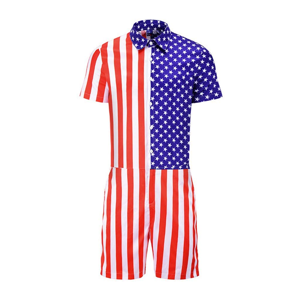 Tracksuit Jumpsuit Men American Flag Striped Button Short Sleeve Top Siamese Set Pants Red by VEZAD