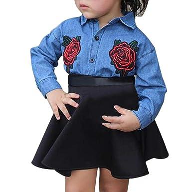 Cute Long Sleeve Rose Applique Denim T-Shirt and Skirt