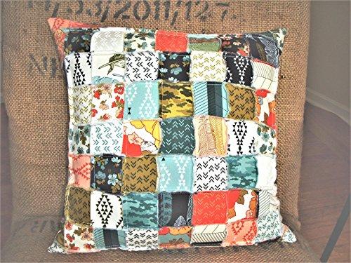 Feather Patchwork Pillow Cover Farmhouse Flowers Arrowheads Diamonds Orange Blue Black Cream Shabby (Patch Flowers Cream)